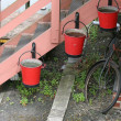Fire buckets and bicycle. — Stock Photo #5888820