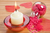 Aroma candle and bath salt — Stock Photo