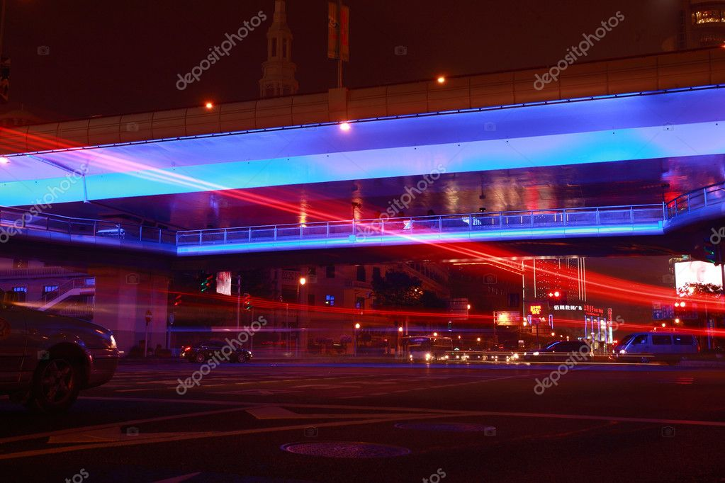 Modern urban city at night with freeway traffic  — Stock Photo #6436566