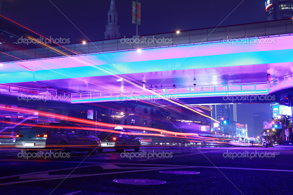 Modern urban city at night with freeway traffic  — Stock Photo #6436567