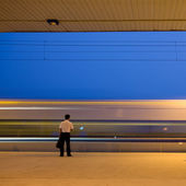 Subway station (motion blurred — Stock Photo