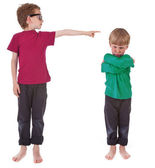 Boy showing who is guilty — Stock Photo