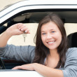 Royalty-Free Stock Photo: Young woman happy about her new drivers license