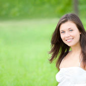 Outdoor portrait of a cute teen, closeup — Stock Photo