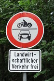Traffic sign cars and motorbikes forbidden — Stock Photo
