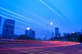 Light trails on the street — Стоковое фото