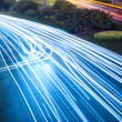 Light trails on the road — Stock Photo