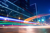 Light trails with blurred colors on the street — Stock Photo