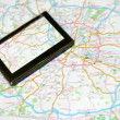 GPS and map - Stock Photo
