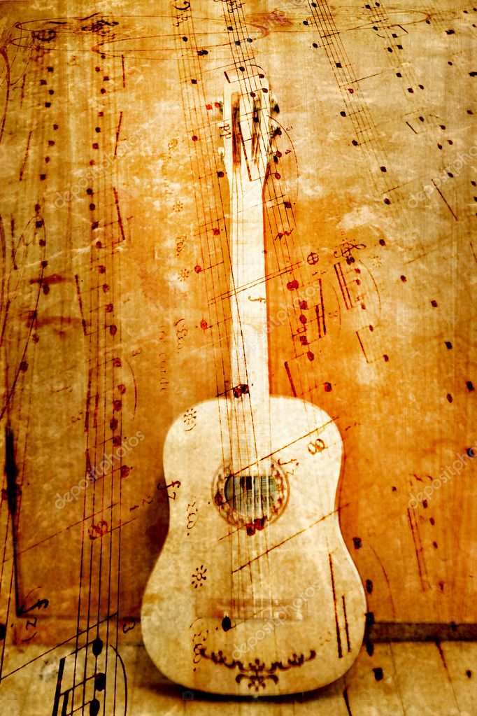 Abstract scene of the acoustic guitar as music background — Stock Photo #5653909