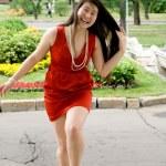 Girl walking outdoor in summer — Stock Photo #6059898