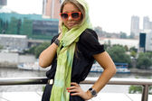 City girl walking outdoor — Stock Photo