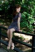 Girl walking outdoor in park — Stock Photo