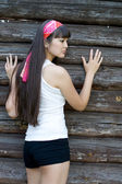 Girl walking outdoor in country side — Foto de Stock