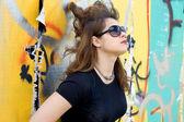 Punk girl walking outdoor — Stock Photo