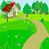 зеленый ландшафт. — Cтоковый вектор