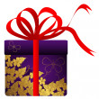 Gift with gold flowers. — Stock Vector