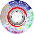 Clock four season. — Stockvectorbeeld