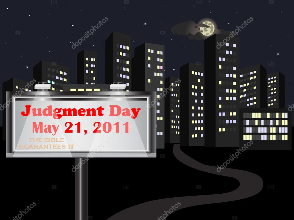 Judgment Day. Big billboard on night street. Vector 10eps. — Stock Vector #5641070