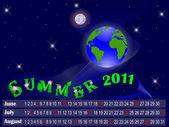 Calendar for summer 2011. The night sky with the globe. Vector. — Stok Vektör