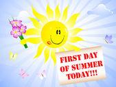 Primer día del verano. — Vector de stock