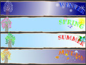 Hele jaar seizoensgebonden banners. — Stockvector
