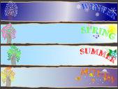 året säsongsbetonade banners. — Stockvektor