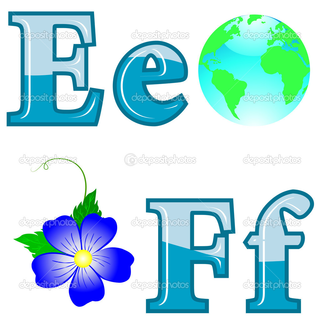 The English alphabet with funny pictures. Letters E; F. Vector. — Stock Vector #6008256
