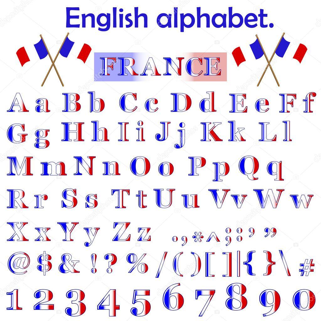 French Alphabet France flag alphabet.