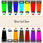 Oil paint tubes and banner. — Stock Vector