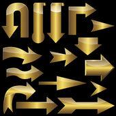 Zestaw złoto strzałki. — Wektor stockowy