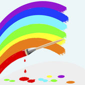 Painting rainbow colors. — Stock Vector