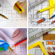 Pencils and plans engineering drawing — Stock Photo