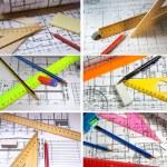 crayons et plans dessin d'ingénierie — Photo