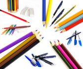 Pencils and pen — Stock Photo