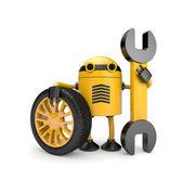 Robot werknemer met spanner — Stockfoto