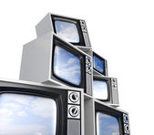 Heap of Retro TV with reflected sky — Stock Photo