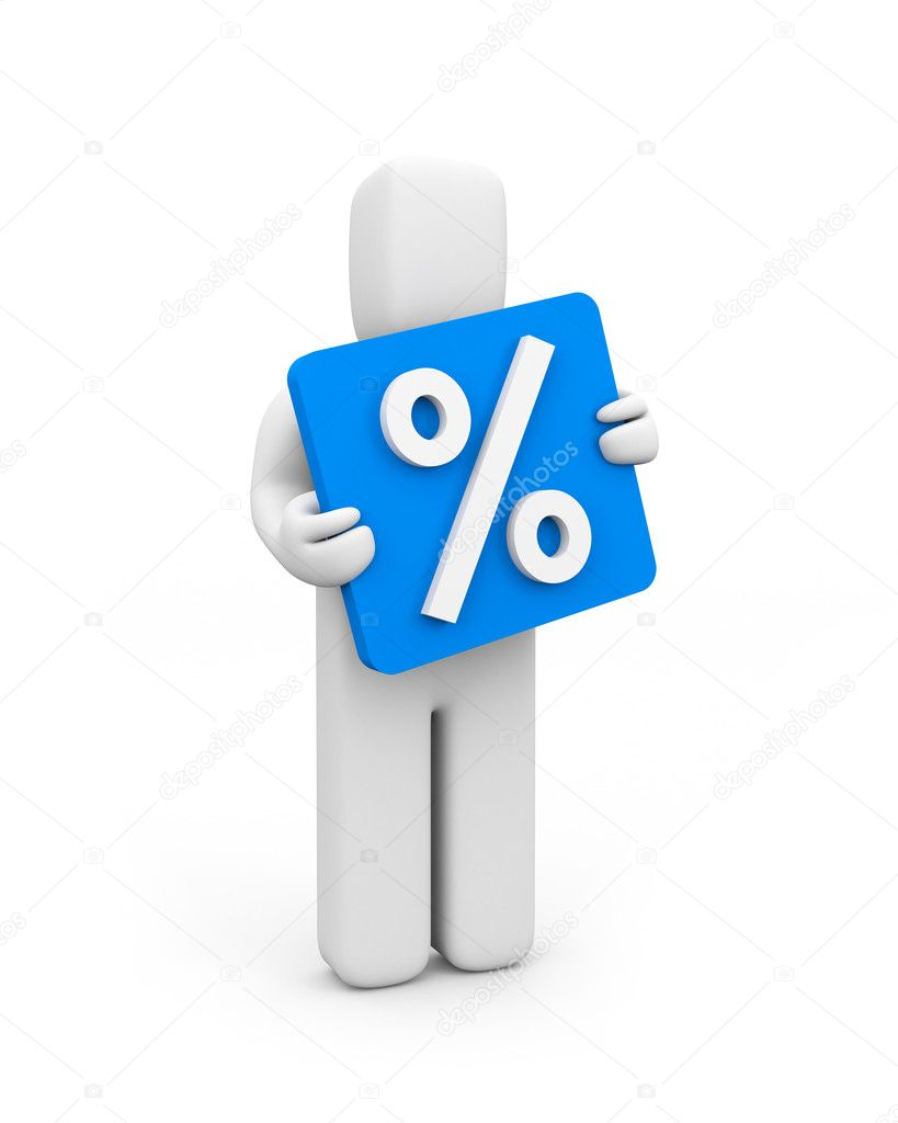 Person and percent icon stock image