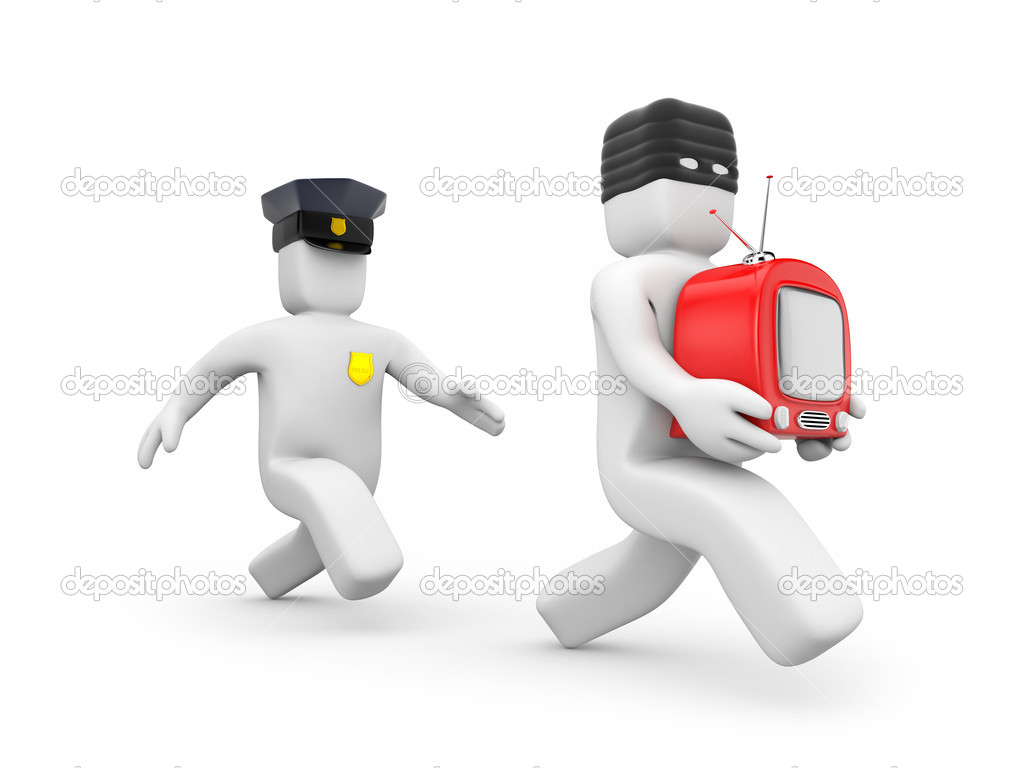 Possibly catches up with the criminal, isolated on white — Stock Photo #6249555
