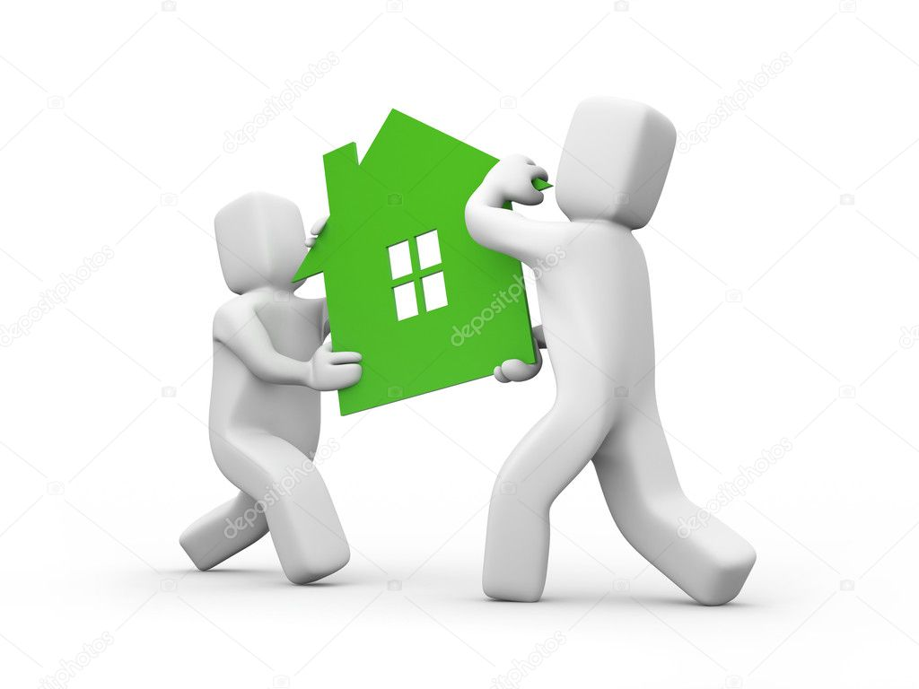Person carrying house icon. Teamwork Business concept isolated on white — Stock Photo #6311461