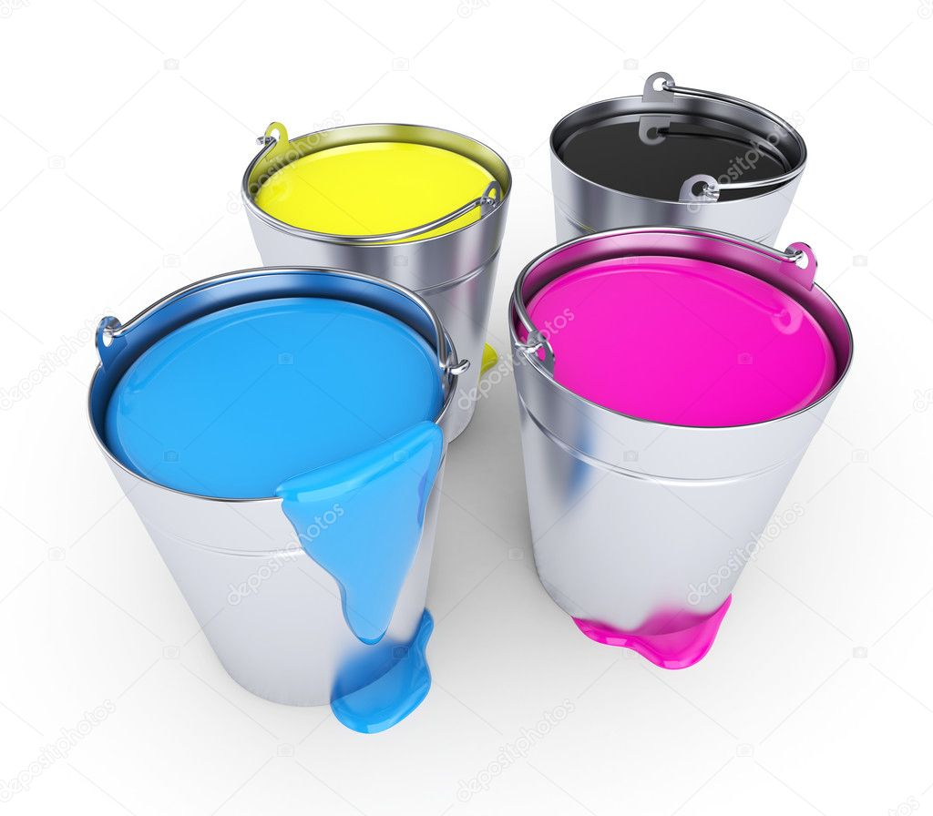 Buckets with a paint, isolated on white  Stock Photo #6312019