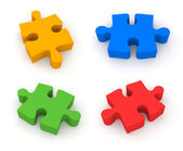 Jigsaw puzzle. 4 in 1 — Stock Photo