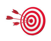 Red and White target with three arrow — Stock Photo