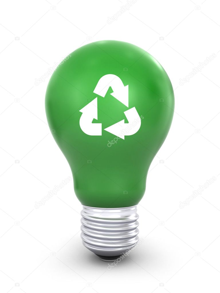 Green Light Bulb Green lightbulb - stock image