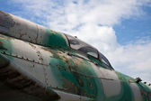 Detail of military aircraft closely obsolete — Stock Photo