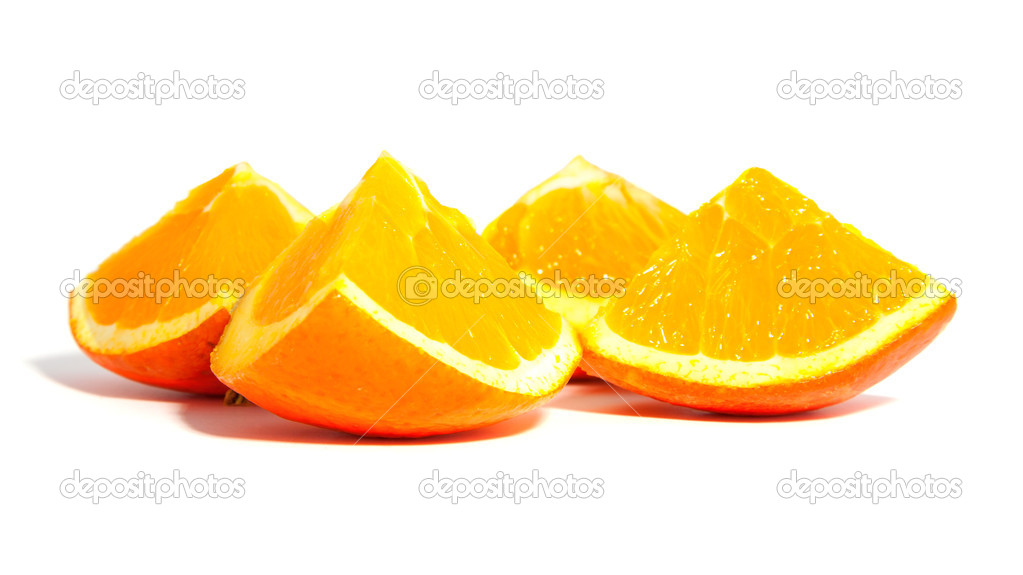 Fresh slices of orange over white background — Stock Photo #5386721