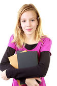 Young girl carry books — Stock Photo