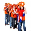 Stock Photo: Group of Dutch soccer fans