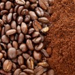 Ground coffee and beans in closeup - Stock Photo