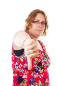 Woman with thumb down — Stock Photo